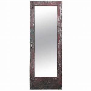 Antique American Craftsman Oak Wood Mirror Door c1910 at