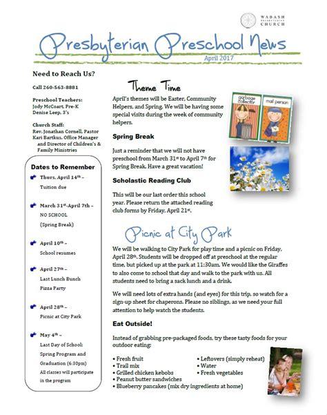 preschool april newsletter preschool newsletter april 2017 171 wabash presbyterian church 477