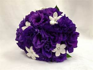 Dark Purple Lisianthus with Stephanotis bridal bouquet ...