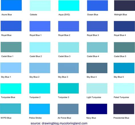 this is the largest list of different blue shades hues
