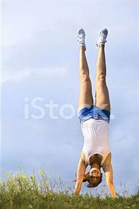 Girl, Stand, Upside, Down, Stock, Photos