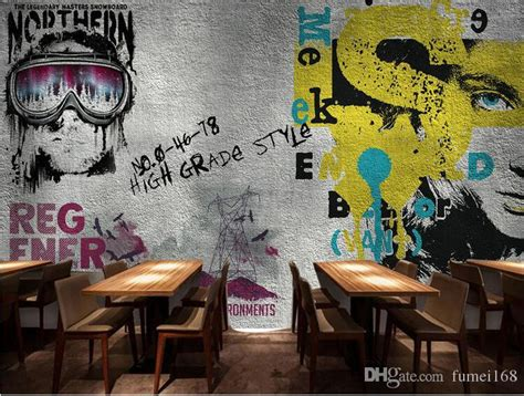 Graffiti Coffee : Europe Vintage Girl Boy Wallpaper Graffiti Photo Wall