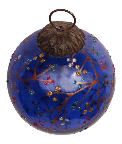 ball ornament cobalt glitter christmas tree decoration