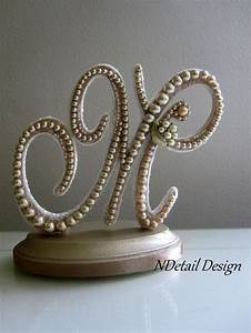 ivory pearl cake topper rustic monogram letter m With letter m cake topper