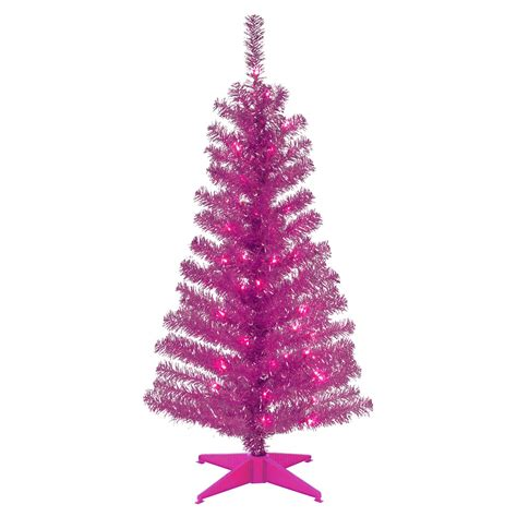 4 ft pink tinsel pre lit full christmas tree christmas