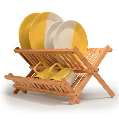 bamboo dish rack foldable drying collapsible dish drainer