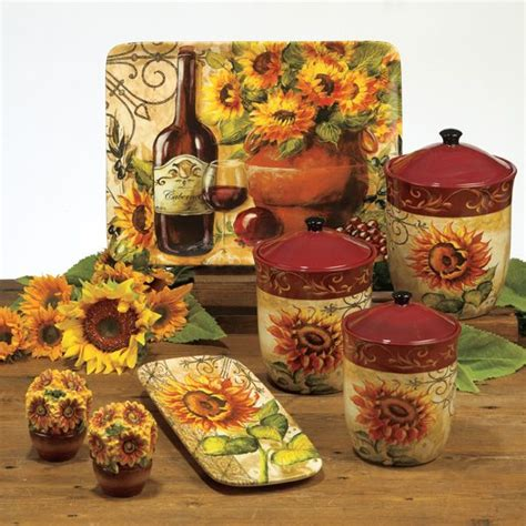 themed kitchen canisters tuscan sunflower kitchen decor for the home