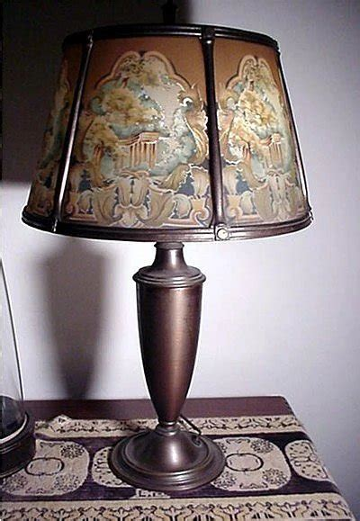 table lamp antique  reverse painted shade drury