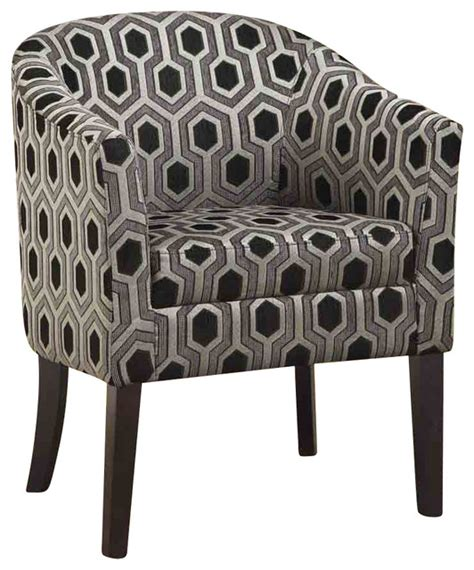 gery hexagon patterned accent chair with wood