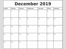 December 2019 Printable Monthly Calendar