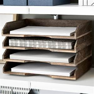 Feathergrain wooden stackable letter tray the container for Decorative stacking letter trays