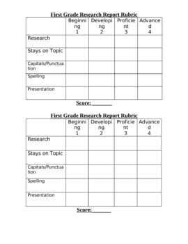 First Grade Report Rubric by Joanne King | Teachers Pay
