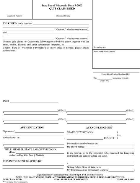 state bar of wisconsin form 3 2003 quit claim deed free wisconsin quitclaim deed form pdf 25kb 1 page s