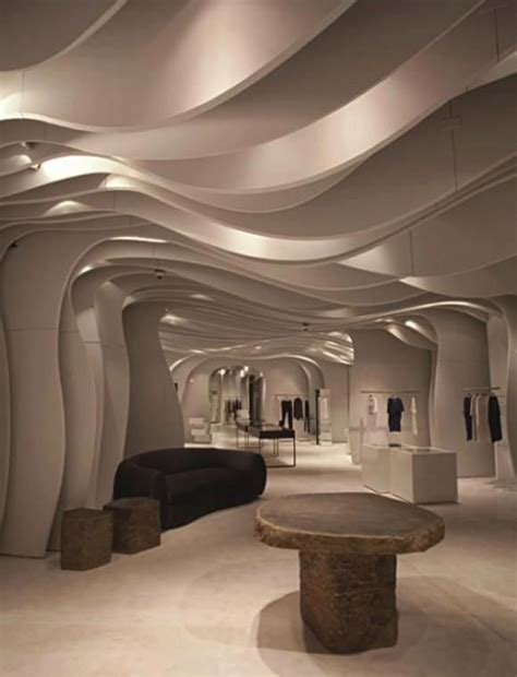 Unique Contemporary Interior Design by Contemporary Curvaceous Ceiling In Mititique Boutique