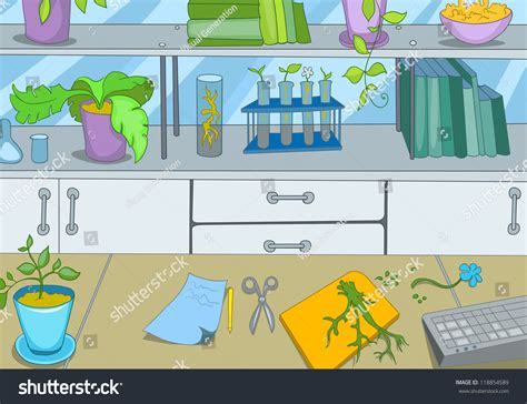 Chemical Laboratory Cartoon Background Vector Illustration
