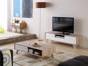 Meuble tv bois decor san remo avec tiroir 2 portes pieds e for Deco cuisine pour meuble tv bois