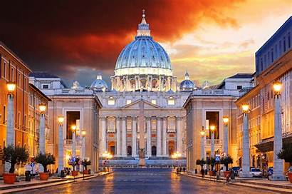 Vatican Rome Italy Street Houses Lights Temples