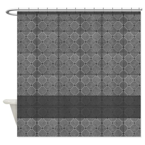 gray mosaic tile pattern shower curtain by