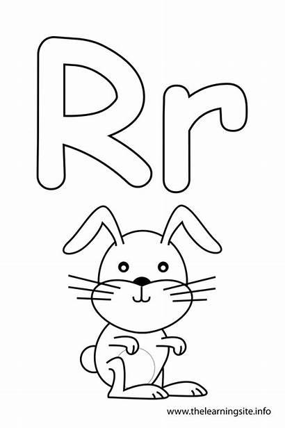 Letter Coloring Alphabet Rabbit Pages Flash Cards