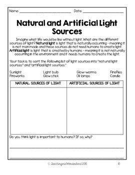 grade 4 light and sound activity packet by