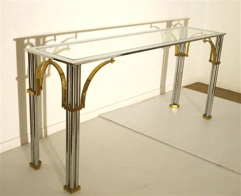 glass and chrome sofa table striking chrome and brass with glass top console or sofa