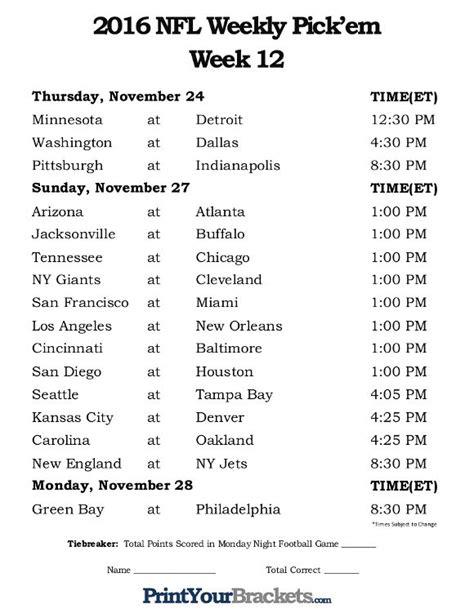 printable week  nfl schedule pick em sheets football