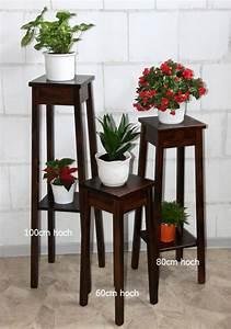 Massivholz Blumentisch 3er Set Beistelltisch Blumenhocker