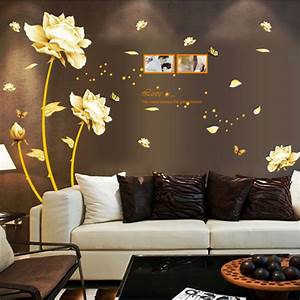 Latest Luxury Gold Flowers TV Background Exclusive Wall