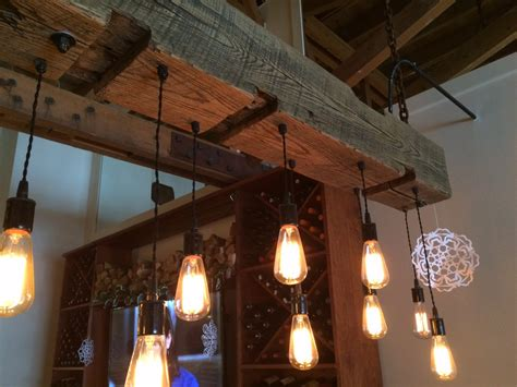reclaimed barn beam light fixture with edison bulbs