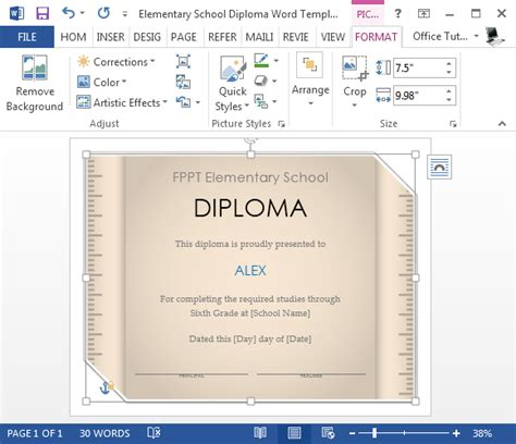 Change Word Default Template by Free Elementary School Diploma Template For Word