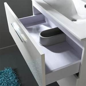 meuble salle de bain blanc laque mundufr With porte de douche coulissante avec ensemble salle de bain simple vasque l 80 cm