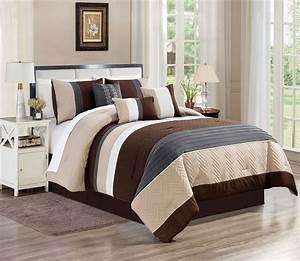 Wpm, 7, Piece, Modern, Design, Comforter, Set, Multicolor, Grey, Coffee, Brown, Beige, Taupe