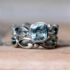 aquamarine engagement ring set aquamarine wedding by With aquamarine wedding ring sets
