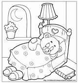 Coloring Sleepover Sleep Bear Teddy Goodnight Pajama Sleeping Slumber Printable Tight Invitations Bed Activity Preschool Holidays Drawing Sheets Sheet Pj sketch template