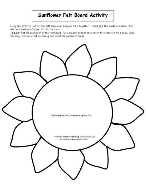 sunflower template sunflower felt board activity t