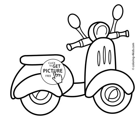 scooter transportation coloring pages  kids printable