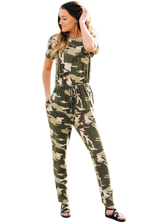 army jumpsuit us 8 51 camouflage sleeve drawstring casual