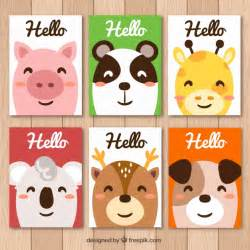 collection color 233 e de cartes d animaux souriants t 233 l 233 charger des vecteurs gratuitement