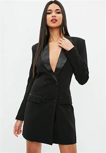 lyst missguided black blazer tux dress in black With robe smoking femme