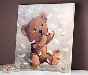 Tableau Deco Enfant : tableau ourson tendresse vente tableau ourson pour enfants doudou nounours en cadre ~ Teatrodelosmanantiales.com Idées de Décoration