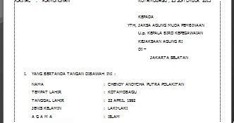 Contoh Surat Lamaran Kejaksaan Ri by Contoh Surat Permohonan Cpns Kejaksaan 2013 Cendol92
