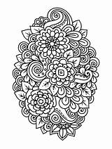 Coloring Flower Adults Flowers Zinnia Pdf Printable Adult Abrstract Rose sketch template