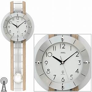 Wanduhr Mit Pendel : ams 5282 wanduhr funk funkwanduhr mit pendel silbern holz ~ Watch28wear.com Haus und Dekorationen
