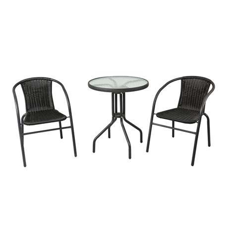 marquee 3 black wicker bistro set bunnings warehouse