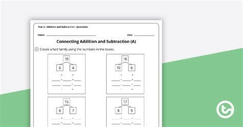 number worksheets addition  subtraction year