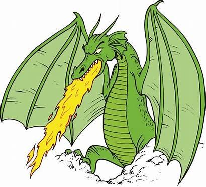 Dragon Fire Cartoon Breathing Clipart Clip Dragons