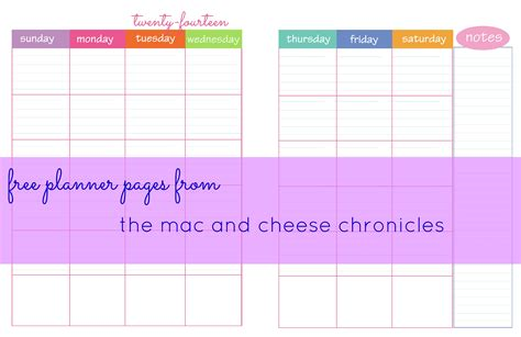 planner pages  mac  cheese chronicles