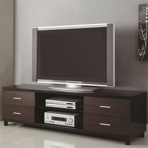 coaster 71 quot 4 drawer two tone tv stand in black 700826