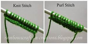 Rainbow U0026 39 S Crafts And Creations  Knit Stitch And Purl Stitch