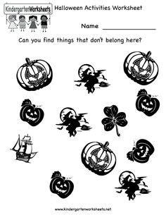 kindergarten halloween worksheets images